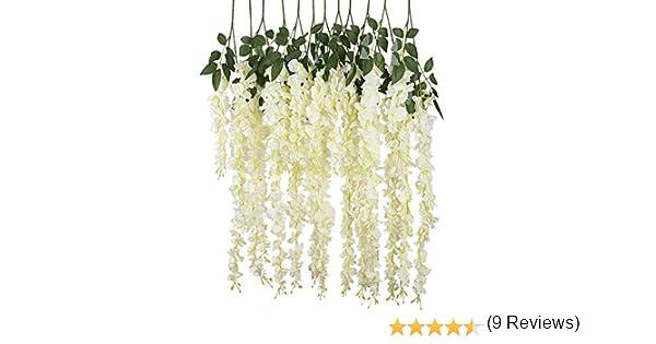iShine 12pcs Guirnalda Artificial Wisteria Hojas de la Planta para Decoraci¨®n Fiesta Boda Flores: Amazon.es: Hogar