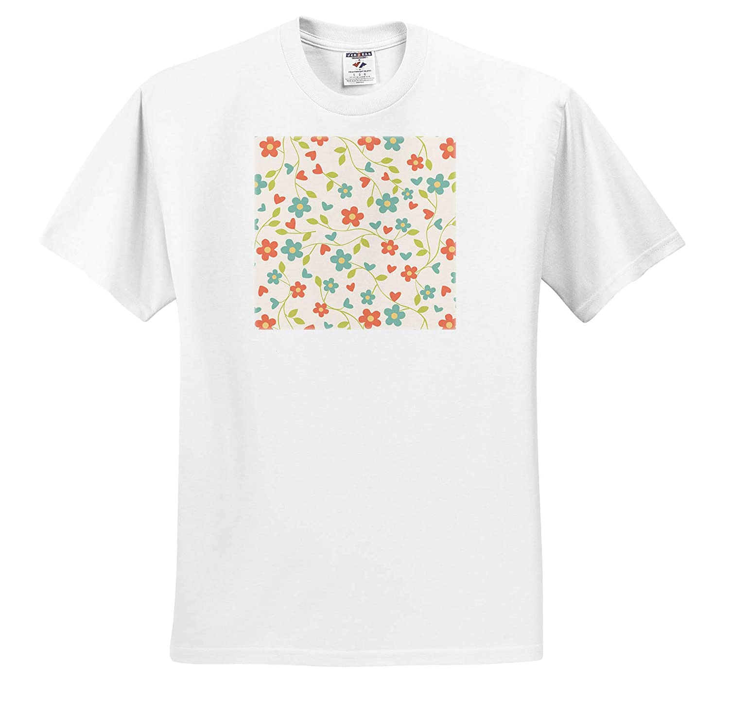 T-Shirts Floral and Tree Abstracts Image of Small Orange and Aqua Floral Repeat Pattern 3dRose Lens Art by Florene