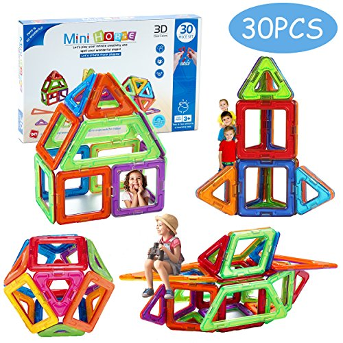 Minihorse-Educational Building Toy (30 pieces) with Activities to Learn Math / STEM Concepts Magnetic Blocks Building Set for Kids, Magnetic Tiles For 2-5 Year Old Boys&Girls  for $<!--$26.99-->