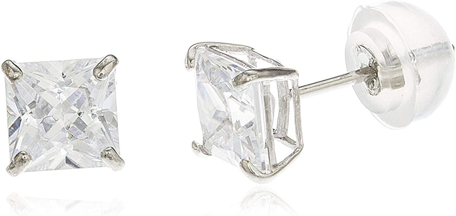 14k White Gold Square Basket Setting Cz Stud Earrings with Silicone Back All Sizes Available