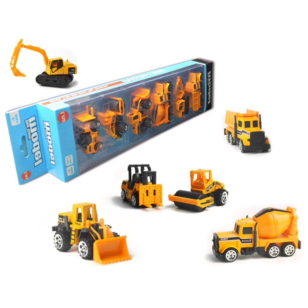 Redriver慣性おもちゃEarlyエンジニアリング車両Friction Powered Kids Dumperトラック、フォークリフト、タンク車、アスファルトとExcavatorブルドーザ( Toy ) -for子供キッズ男の子girls-のセット6   B07BNZQZQS