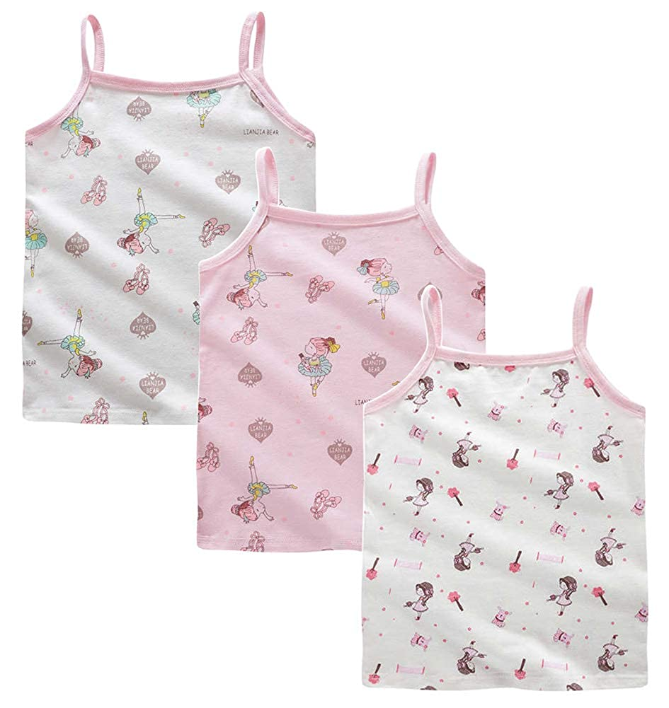 CHUNG Toddler Girls Cami Snug Fit Super Soft Cotton Tank Top Assorted 3//4 Pack Undershirt 12M-8Y