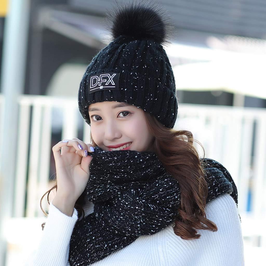 Beautiful home-scarf Sombrero de Invierno Bufanda de Mujer Traje de Punto cálido  Gorro de Lana Gruesa de Terciopelo más A Prueba de Viento y cálido (Color  ... 17197e0f7986