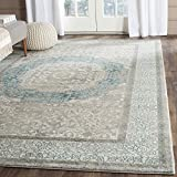 Safavieh Sofia Collection SOF365A Vintage Light Grey and Blue Center Medallion Distressed Area Rug (9' x 12')