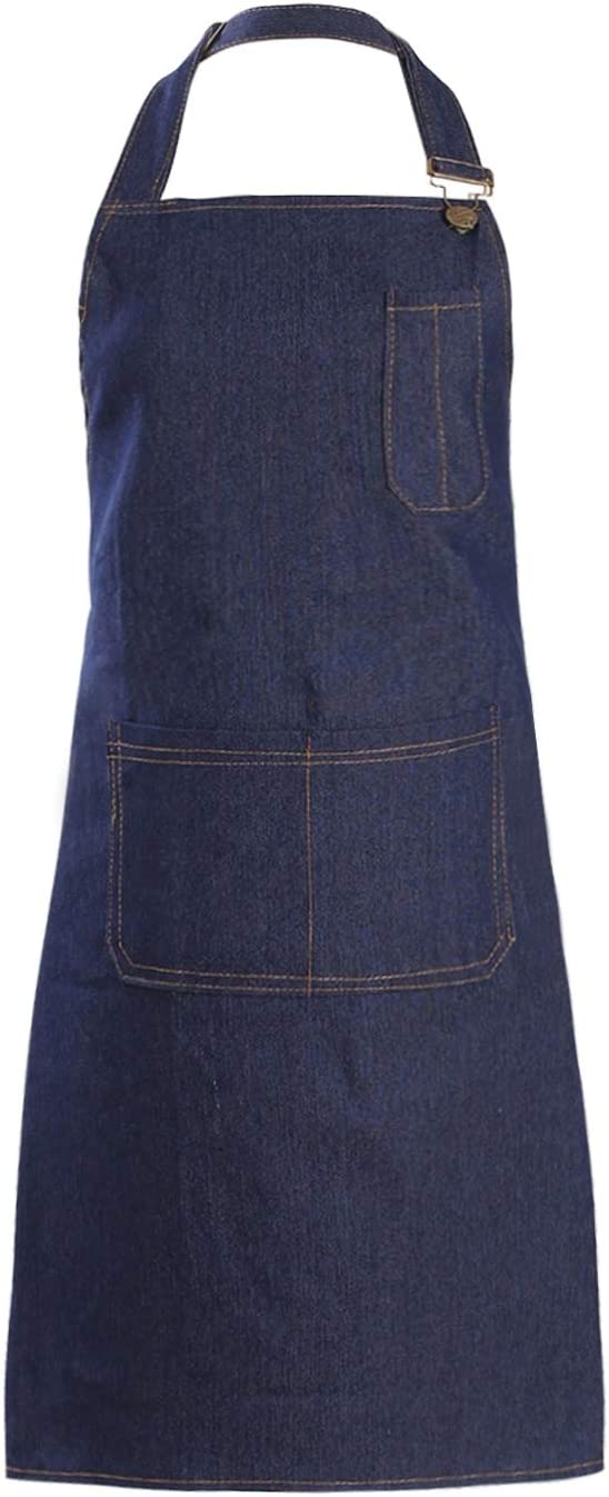 Tosewever Denim Apron with Pockets for Men Women Chef Kitchen BBQ Restaurant Grill Adjustable Neck Strap Long Ties Suitable M to XXL Tool Aprons (Dark Blue, 1)