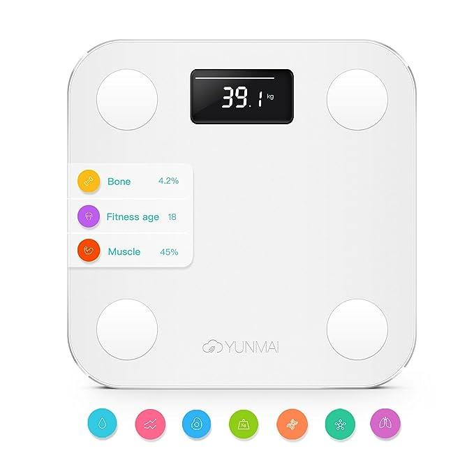 YUNMAI – Báscula de baño inteligente con Bluetooth y con 10 análisis de la Composición Corporal (Inc. Grasa Corporal), blanco: Amazon.es: Salud y cuidado ...