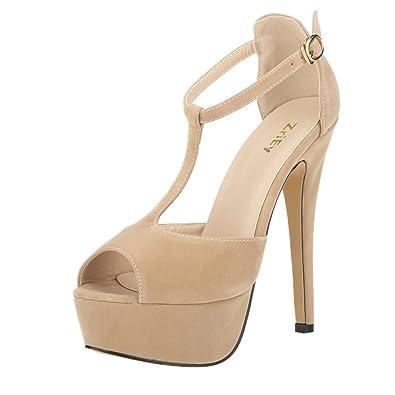 Amazon.com | ZriEy Women's Sexy Peep Toe High Heel T-Strap ...