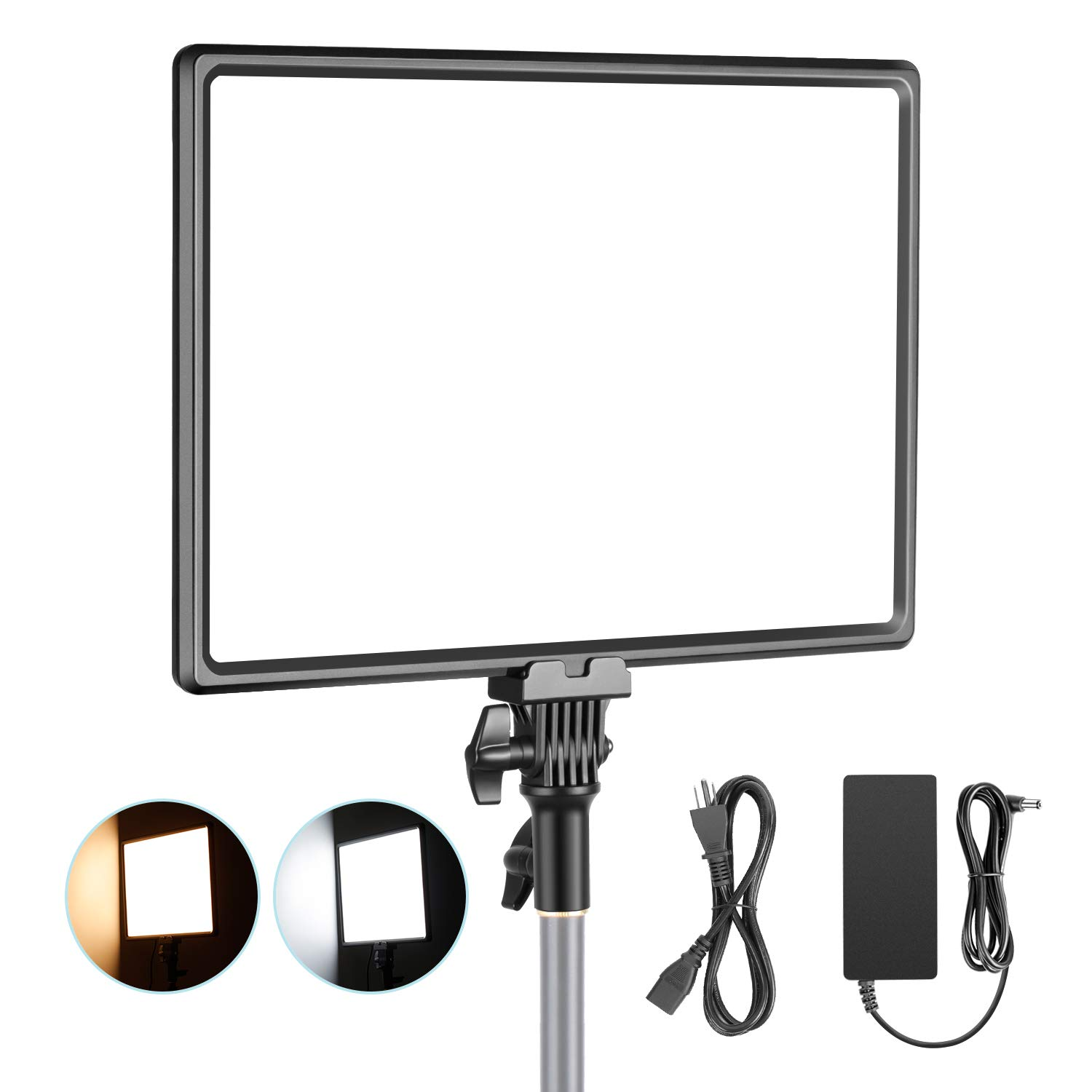 Neewer Super Slim LED Video Light Soft Lighting 40W 3200K-5600K CRI95+ Dimmable LED Panel with LCD Display, Camera Camcorder Photo Light Compatible with Sony NP-F Series Battery (Battery Not Included) by Neewer