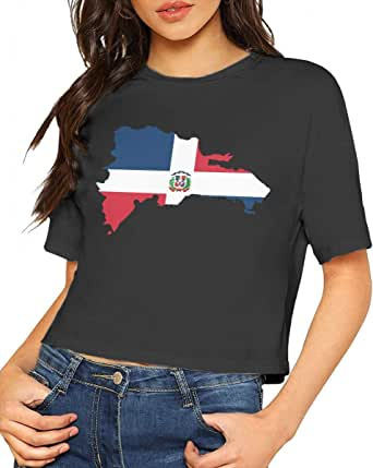 Ladies T Shirt Made in Dominican Republic Flag and map