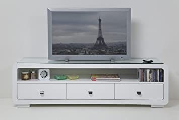 Tv bank design  White Club TV Bank mit 3 Schubladen TV Möbel TV Rack by Kare ...