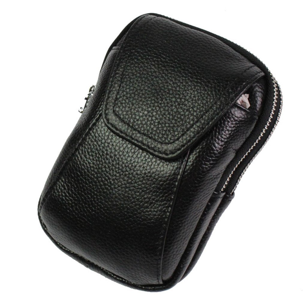 KUAISUF Men Genuine Leather Cowhide Phone Case Belt Pouch Purse Pack Waist Bag Cigarette Case Black