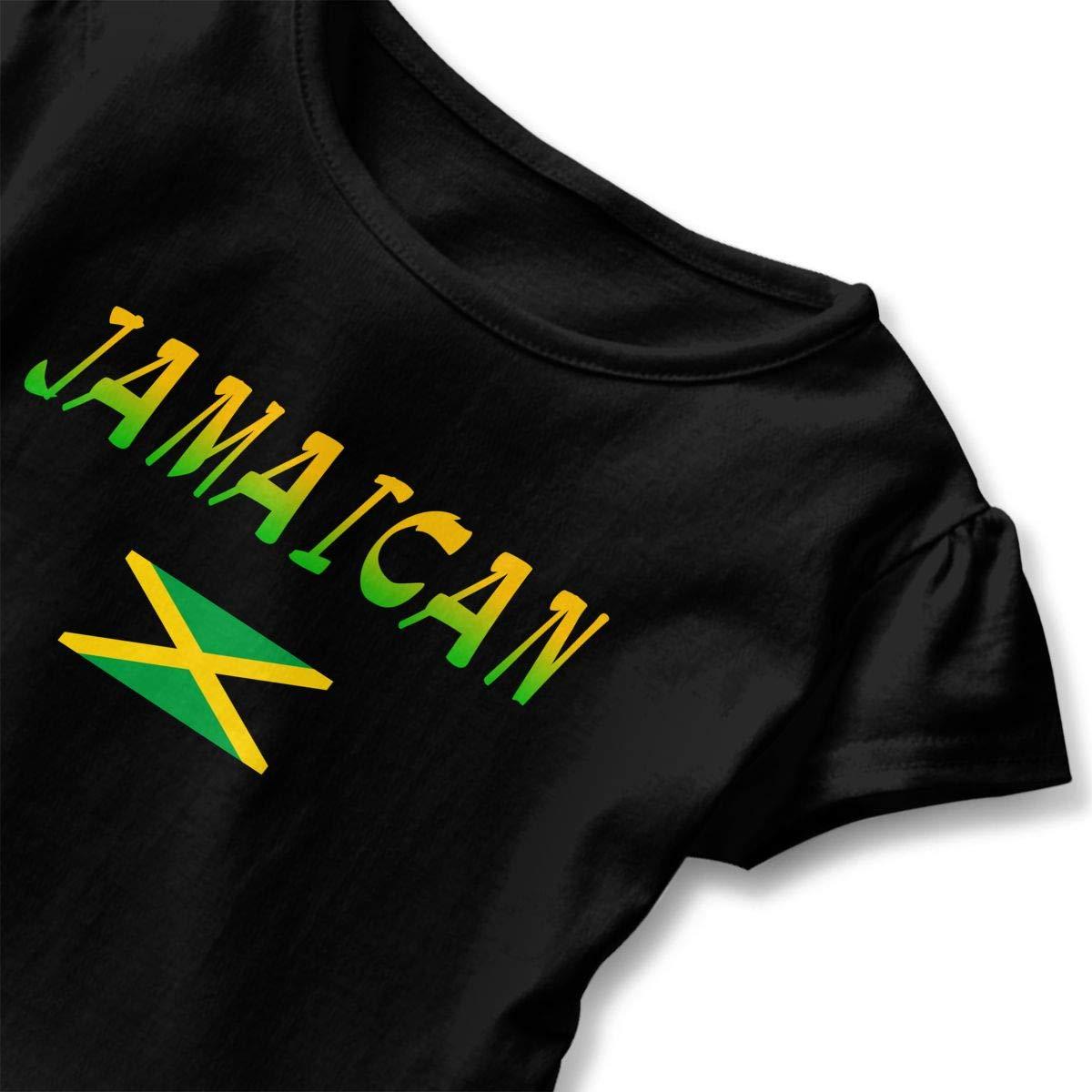 Jamaican Flag Toddler Baby Girls Cotton Ruffle Short Sleeve Top Cute T-Shirt 2-6T