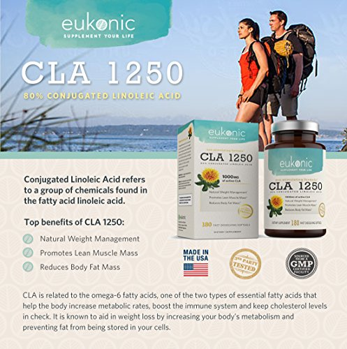 CLA 1250 mg by Eukonic | 180 Softgels | Natural Diet Pills for Increased Weight Loss and as a Fat Burner | 100% Safflower Oil | Lose Weight Faster! | Non GMO | 3rd Party Tested
