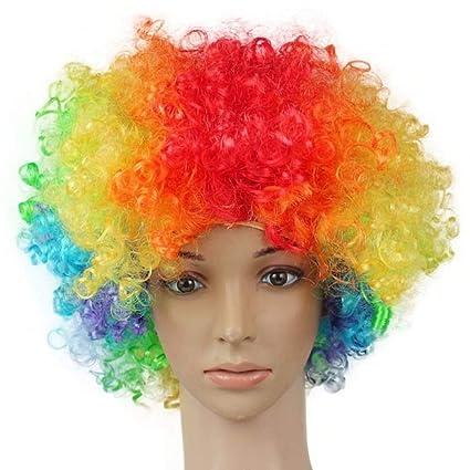 HAO Pelucas Halloween Disco Payaso Rizado Afro Circus Disfraces Pelucas de Cabello Fiesta de Navidad Ventilador