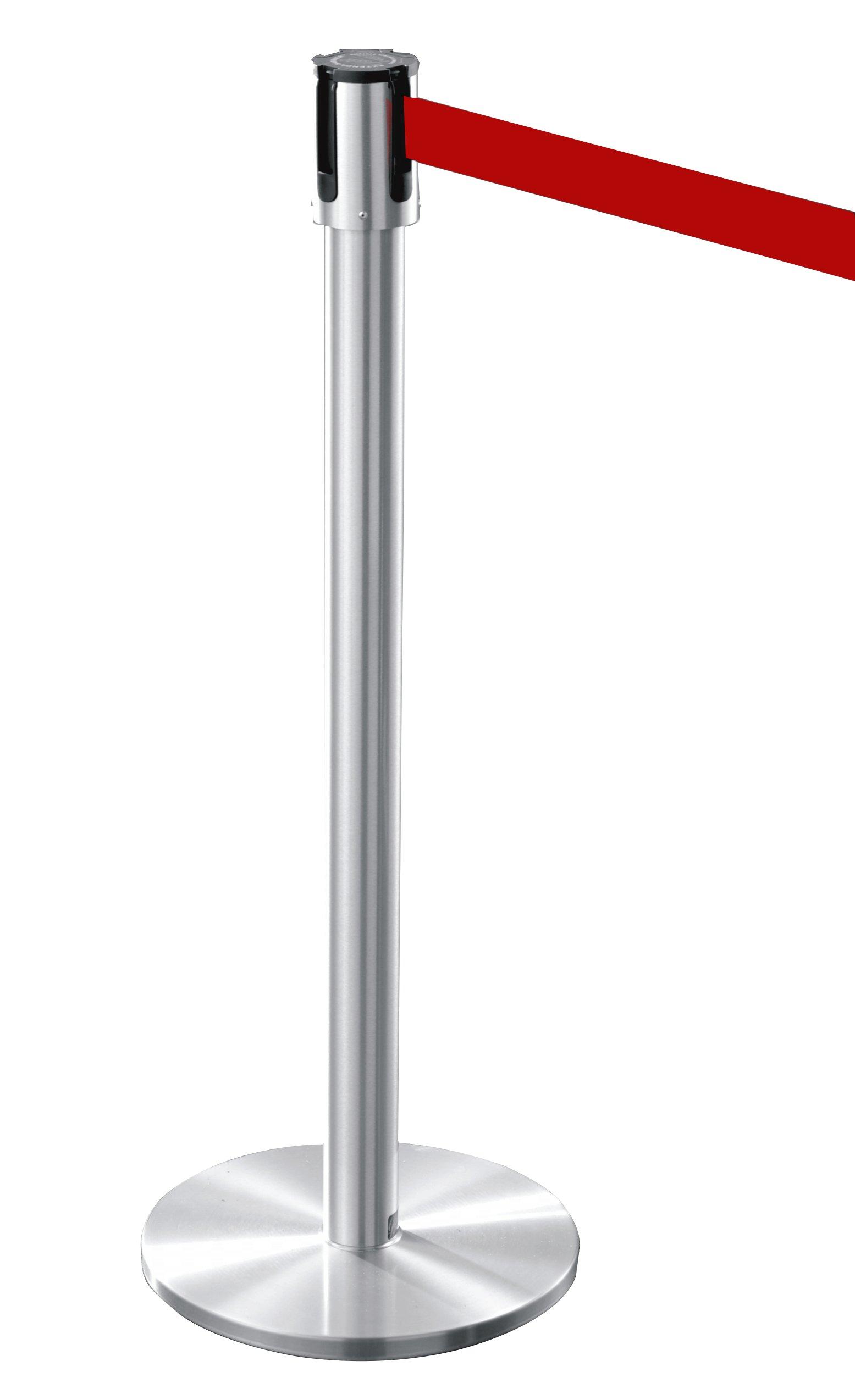 Glaro 152SA-RD 13' Retractable Belt Crowd Control Post - Satin Aluminum finish - Red Belt