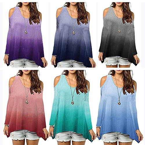 Irrgulier Casual Blouse et Epaule Femmes Longues Violet Automne Chemisiers Mode Tee Shirt T Printemps Tops Lache Nu Jumpers Hauts Manches Shirts Pente xtwBdn