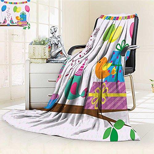 YOYI-HOME Fashion Designs Warm Duplex Printed Blanket Kids Singing Birds Happy Birthday Song Flags Cone Hats Party Cake Multicolor Sofa,Air-Conditioner Room /W59 x -