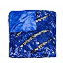 """KOVOT Sequin Mermaid Style Throw Blanket 50"""" x 60"""" - Reversible Color Sequins To Change The Look And Design (Blue/Silver)"""