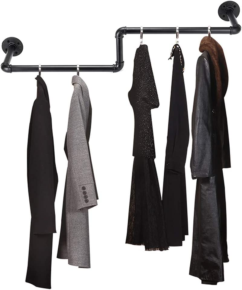 Sumnacon 37.8 Inch Industrial Pipe Clothing Rack Bar - Heavy Duty Rustic Coat Hanger with Screws, Wall-Mounted Metal Garment Holder Rack for Retail Display/Organizing Laundry/Boutique/Clothing Store,