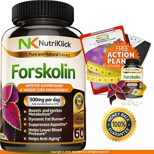 Nutriklick Forskolin Natural Extract Weight Loss and Appetite Suppressant Dietary Antioxidant Supplement for Adults – 60 Capsules