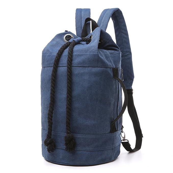 Minetom Lona Backpack Mochilas Escolares Mochila Escolar Casual Bolsa Viaje Moda Cilíndrico Hombre Gran Pequeño Versión: Amazon.es: Ropa y accesorios