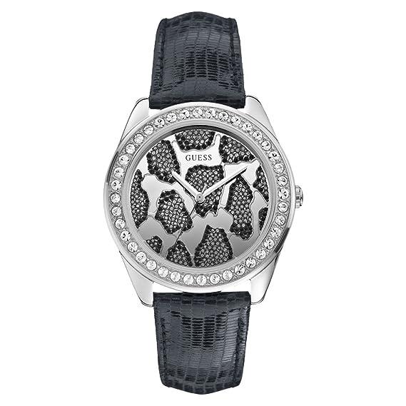 GUESS W0056L1 - Reloj analógico de cuarzo para mujer con correa de piel, color negro