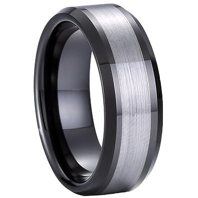 8 mm carburo de tungsteno negro plata hombres anillos de boda ...
