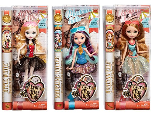Ever After High Mirror Beach Doll Set of 3 - Madeline Hatter, Ashlynn Ella & Apple (Happily Ever After High Characters)