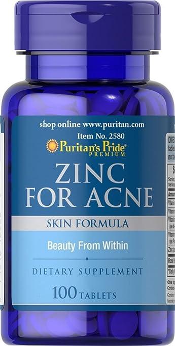 Pastillas Para El Acne - 100 Tabletas De Zinc Con Vitaminas Y Minerales Para La Salud