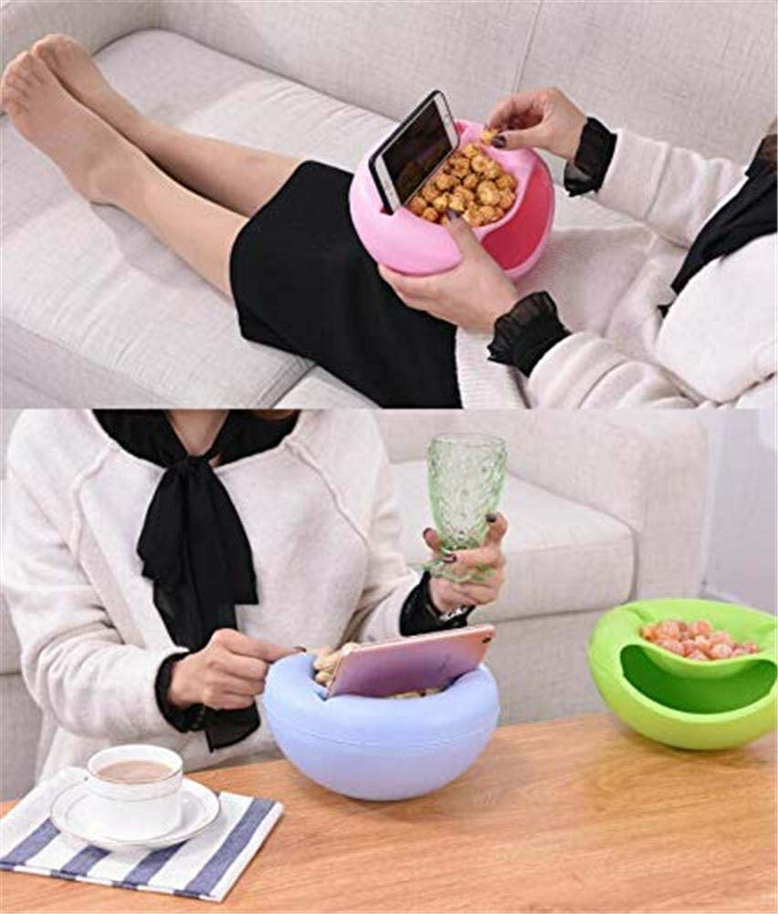 Pink Creative Lazy Fruit Plate Double Layer Plastic Melon Seeds Nut Bowl Table Candy Snacks Dry Fruit Holder Storage Box Plate Dish Tray with Mobile Phone Stents