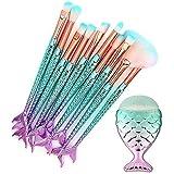 Webueat Makeup Brushes 11PCS Make Up Foundation Eyebrow Eyeliner Blush Cosmetic concealer Brushes(Mermaid colorful)