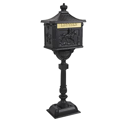 Mailbox Cast Aluminum Black Mail Box Postal Box Security Heavy Duty New