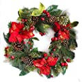 ?IKY 22 Inch Crestwood Spruce Christmas Wreath with Silver Bristles,Rattan Red, Cones, Red Berries
