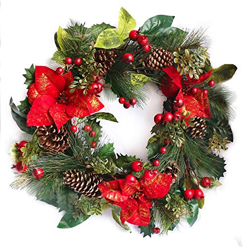 NIKY 22 Inch Crestwood Spruce Christmas Wreath with Silver Bristles,Rattan Red, Cones, Red Berries