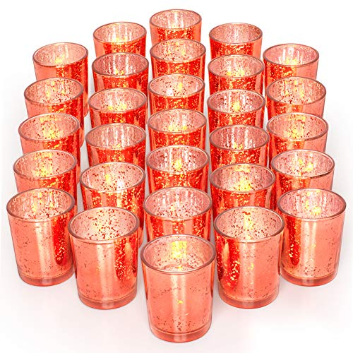 Coral Wedding Centerpieces (Letine Glass Votive Candle Holders Set of 36 - Speckled Mercury Coral Candle Holder Bulk - Ideal for Wedding Centerpieces & Home)