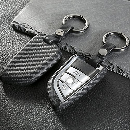 M.JVisun] Soft Silicone Rubber Carbon Fiber Texture Cover Protector for BMW Key Fob, Car Keyless Entry Remote Key Fob Case for BMW X1 X5 X5M X6 X6M 2 7 Series Fob Remote Key - Black - Round Keychain
