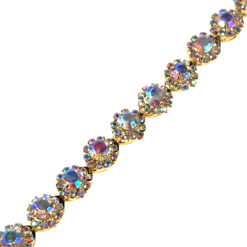 Homeford Aurora Borealis AB Crystal Rhinestone Jewel Trim, Iridescent Gold, 3/8-Inch, 1-Yard (1-Yard)