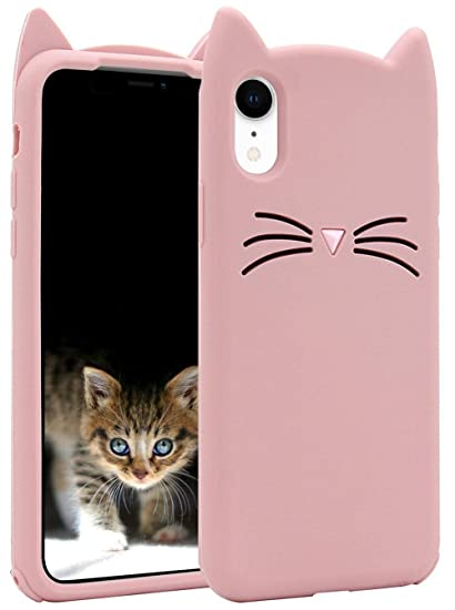 sports shoes 3c471 84b1c iPhone XR Case, MC Fashion Cute 3D Party Meow Cat Ears Kitty Whiskers Soft  Slim Silicone Phone Case Teen Girls Women for Apple iPhone XR (2018) ...