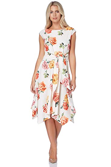 f275915e670b Roman Originals Women Hanky Hem Floral Print Dress - Ladies Skater Tie Knot  Front Midi Cocktail Wedding Guest Mother of The Bride Elegant Office  Botanical ...