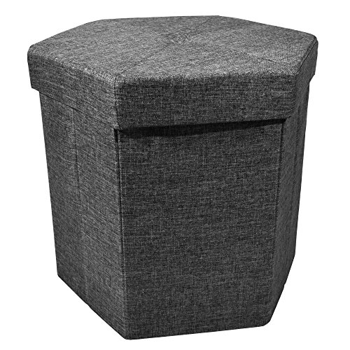 Cheap Upholstered Collapsible Hexagon Storage Ottoman with Padded Seat, Folding Bench and Foot Rest, Faux Linen, Black, 15-inch