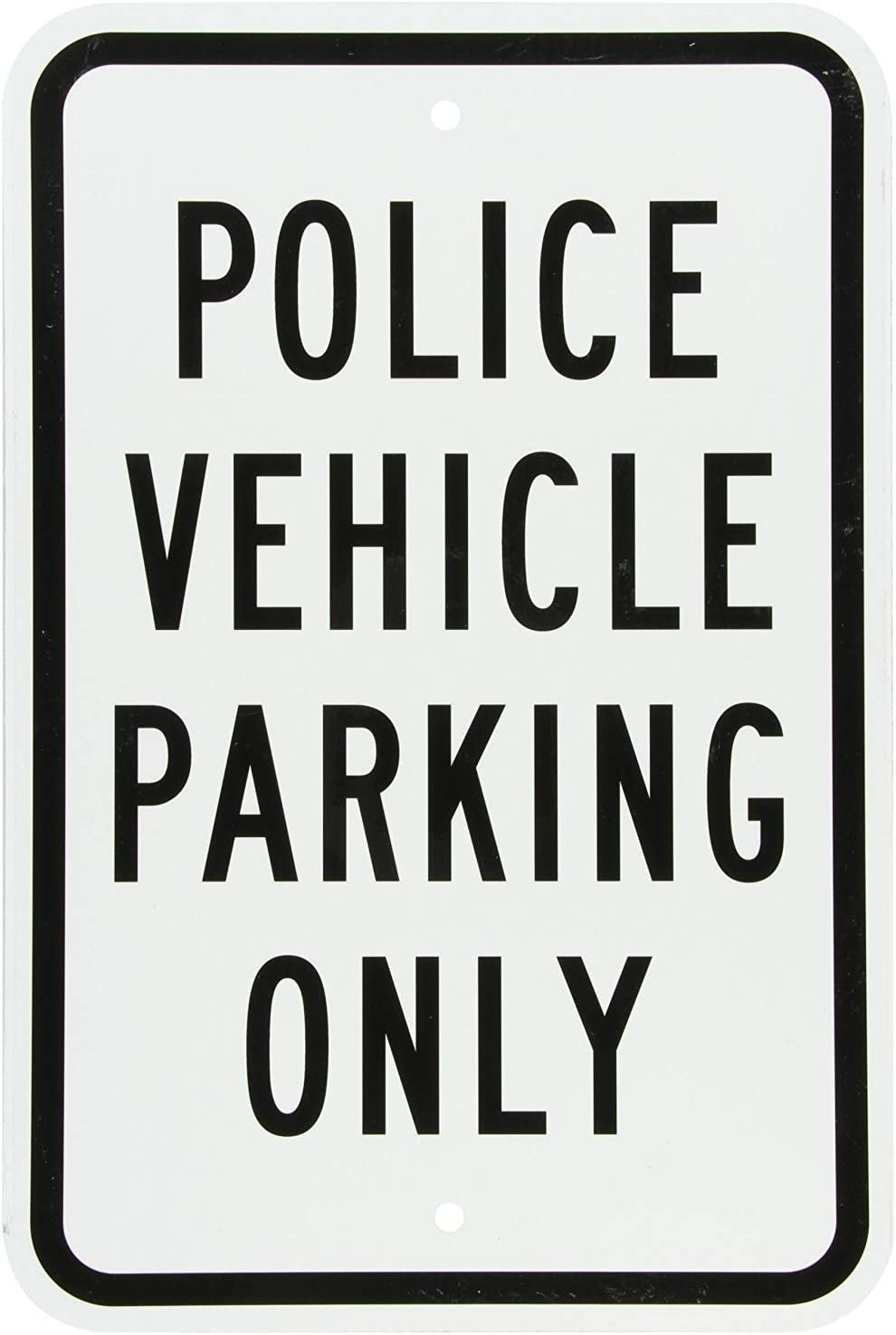 Legend Police Vehicle Parking Only GIGIEU Aluminium-Schild Schwarz auf Wei/ß 18 x 12