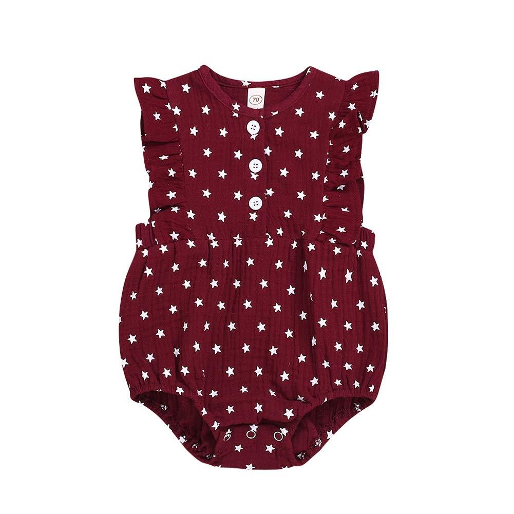 KOERIM Infant Baby Girls Romper Cotton Star Pattern Rompers Flare Sleeve Bodysuit Ruffle One-Piece Romper Jumpsuit