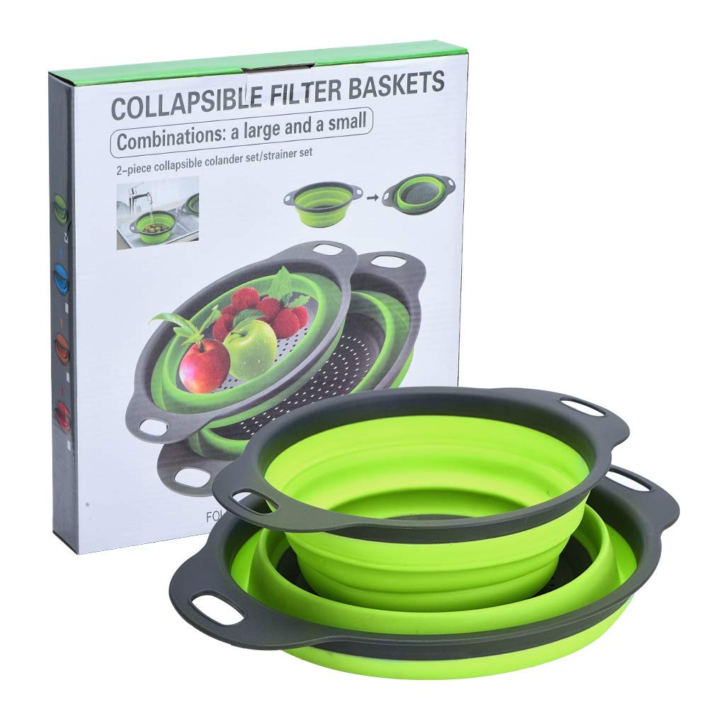 Collapsible Colanders Set, Knifun Silicone Strainer Set-8 and 9.5 Filter Basket, Food-Grade Kitchen Strainer, Space-Saver Folding Strainer Colander, Dishwasher Safe (Green)