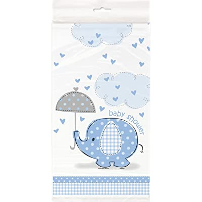 "Blue Elephant Boy Baby Shower Plastic Tablecloth, 84"" x 54"": Kitchen & Dining"