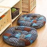 TMJJ Cotton & Linen Round Floor Pillow Cushion Japanese Style Futon Seat Cushion Thicken Chair Wave Window Pad 21'' x 21'',Set of 2