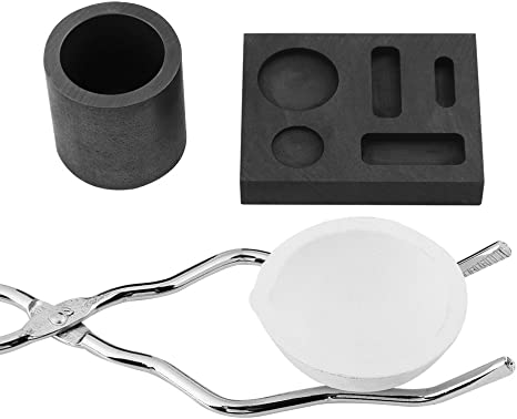 Crucibles for Melting Metal Kits High Purity Graphite Quartz Cast Crucible Melting Tong Bowl Mould for Metal Clay