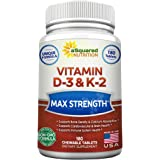 Vitamin D3 with K2 Supplement - 180 Chewable Tablets, Max Strength D-3 Cholecalciferol & K-2 MK7 to Support Healthy Bones, Te