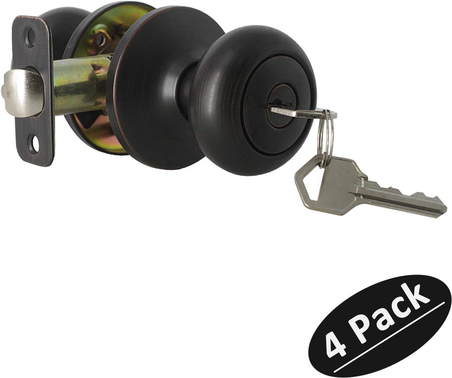 Keyed Entry Door Lock Classic Biscuit Exterior Door Knob Handle in Oil Rubbed Bronze,Keyed Alike, 4 Pack
