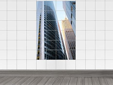 Piastrelle adesivo piastrelle immagine città con grattacieli
