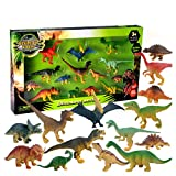 Lanlan 14PCS Assorted Mini Dinosaur Toy Figures Realistic Medium and Small Sized Dinosaur Furnishing Articles
